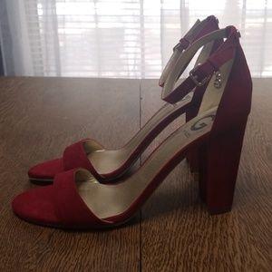 Guess red block heel